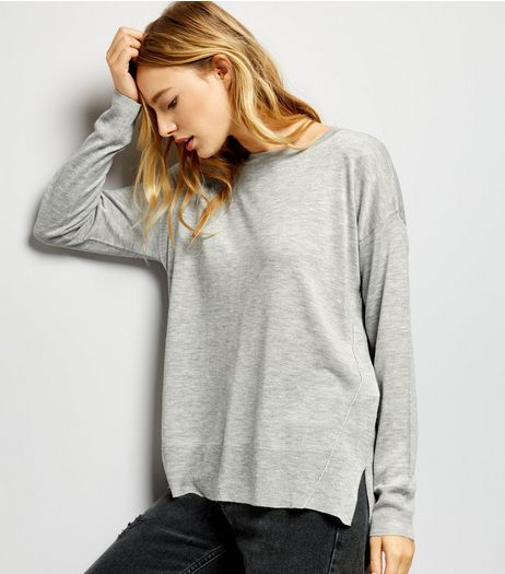 Pale Grey Step Hem Long Sleeve Jumper  | New Look