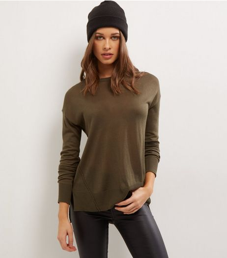 Khaki Long Sleeve Jumper  | New Look