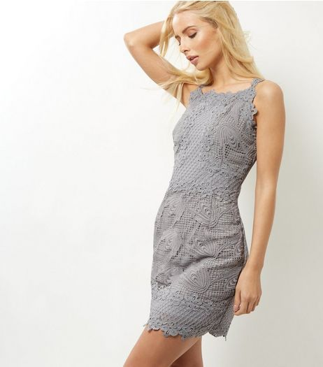 AX Paris Grey Crochet Lace Dress | New Look