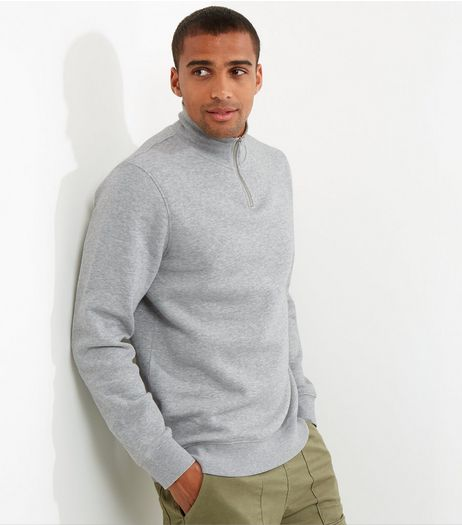 Grey Funnel Neck Zip Front Sweater | New Look