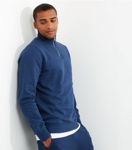 Blue Funnel Neck Zip Front Sweater | New Look