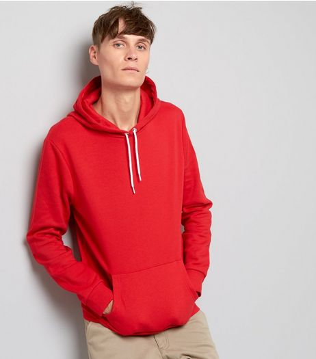Red Pocket Front Hoodie | New Look