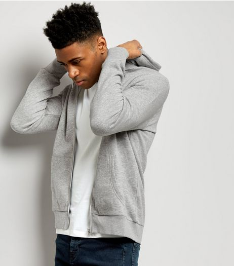 Grey Zip Front Hoodie | New Look