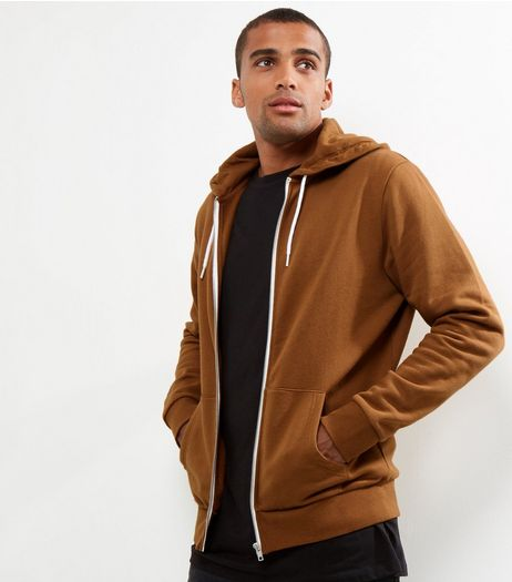 Tan Zip Front Hoodie | New Look