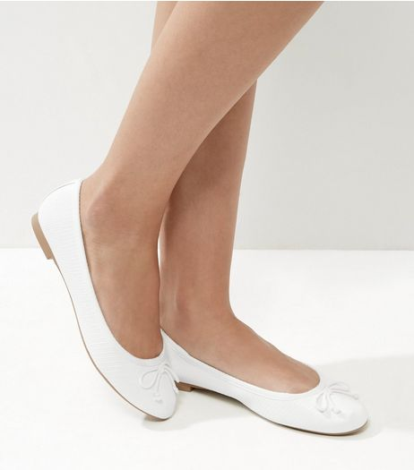 White Snakeskin Ballet Pumps | New Look