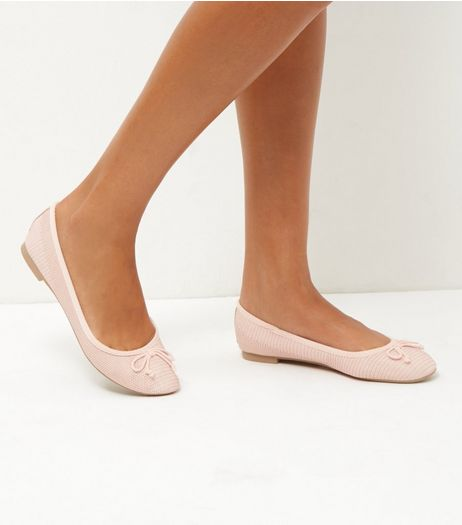 Pink Snakeskin Ballet Pumps | New Look