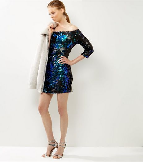 Anita and Green Blue Sequin Bardot Dress | New Look