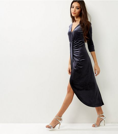 Anita and Green Grey Velvet Drape Dress | New Look