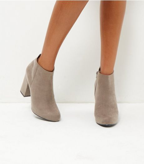 Grey Suedette Block Heel Ankle Boots | New Look