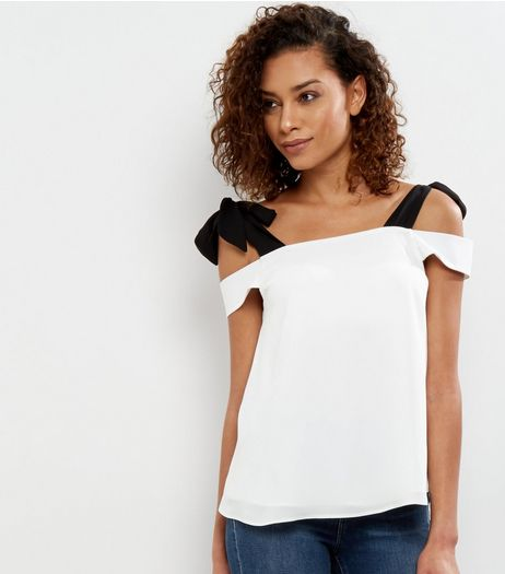 White Tie Strap Cold Shoulder Bardot Neck Top | New Look