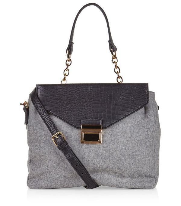 Grey Felt Contrast Satchel Bag