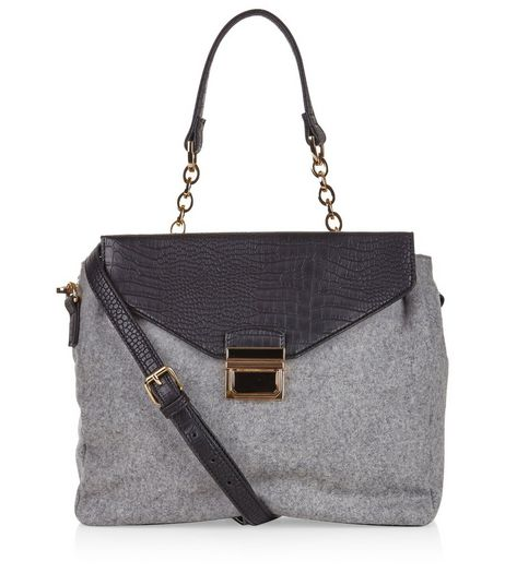 Grey Felt Contrast Satchel Bag | New Look