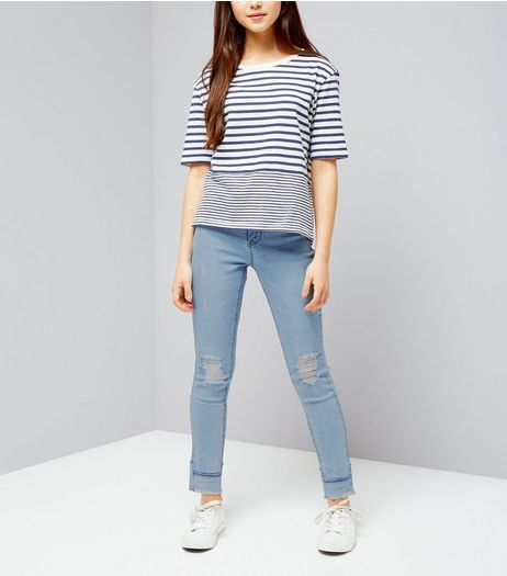 Teens Blue Ripped Knee Contrast Fray Hem Skinny Jeans | New Look