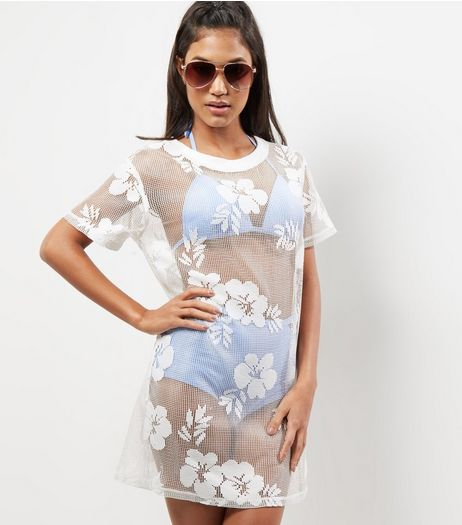 White Floral Mesh Beach Dress | New Look