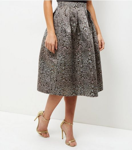 Silver Metallic Absract Print Midi Skater Skirt | New Look