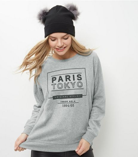 Grey Paris Tokyo Print Brushed Sweater | New Look
