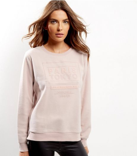 Shell Pink Paris Tokyo Brushed Sweater | New Look