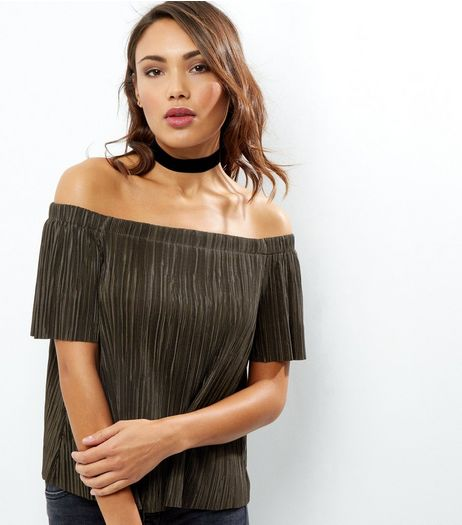Khaki Bardot Neck Pleated Top | New Look