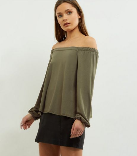 Khaki Long Sleeve Bardot Neck Top  | New Look