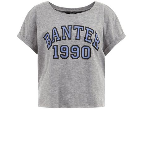 Teens Grey Banter 1990 Print Crop T-shirt | New Look