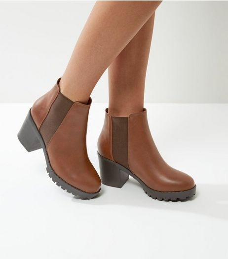 Brown Chunky Heel Chelsea Boots | New Look