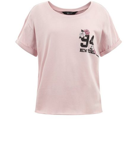 Teens Pink New York Floral Print T-shirt  | New Look