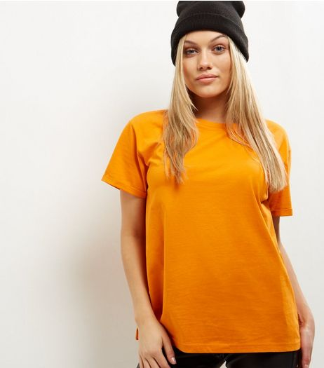 Petite Bright Orange Short Sleeve Boyfriend T-Shirt  | New Look