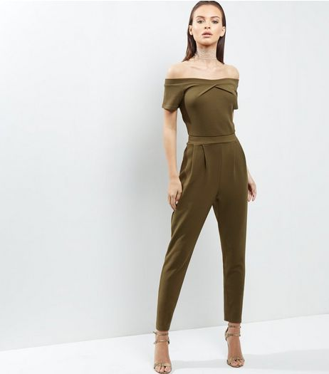 Tall Khaki Twist Front Bardot Neck Jumpsuit | New Look
