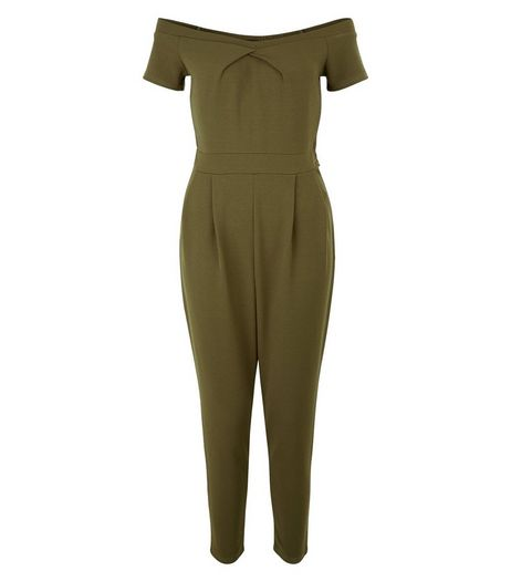 Petite Khaki Bardot Neck Jumpsuit | New Look