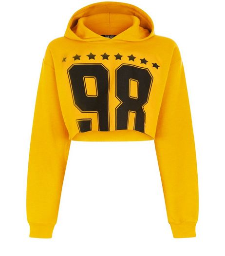 Teens Orange 96 Star Print Cropped Hoodie | New Look