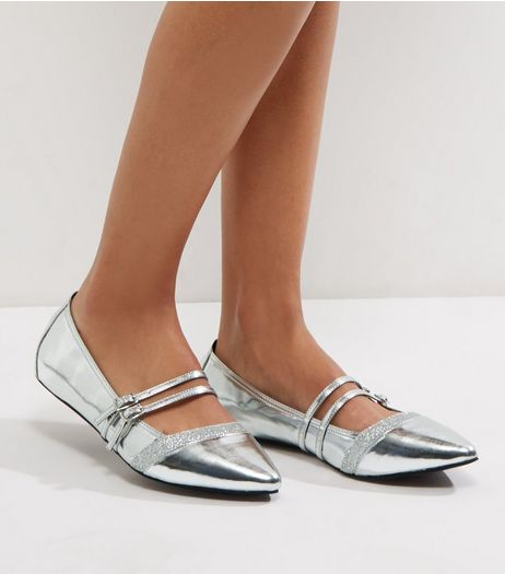 Wide Fit Silver Glitter Strap Pointed Pumps | New Look