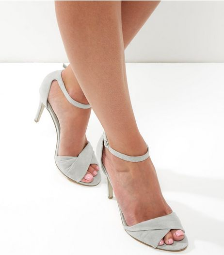 Grey Suedette Cross Front Ankle Strap Heels | New Look