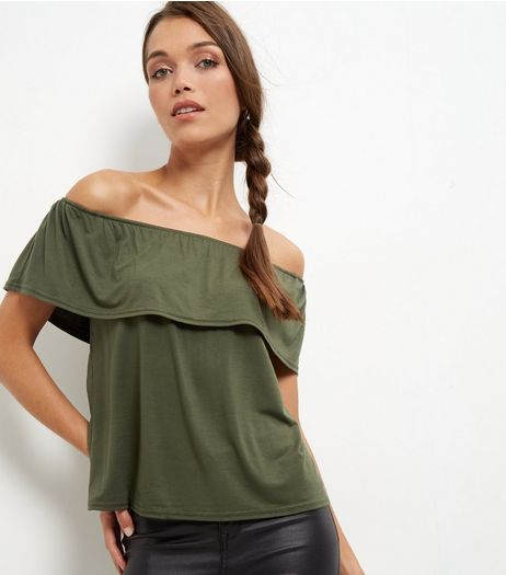 Khaki Frill Trim Bardot Neck Top | New Look