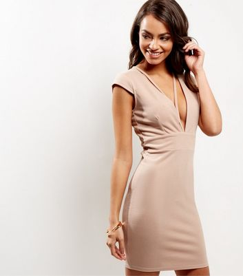 Shell Pink V Neck Cross Strap Front Bodycon Dress