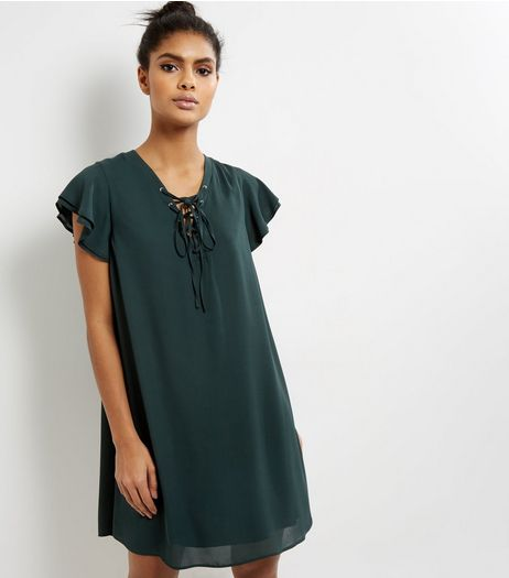 Dark Green Lattice Front Frill Trim Short Sleeve Skater Dress | New Look