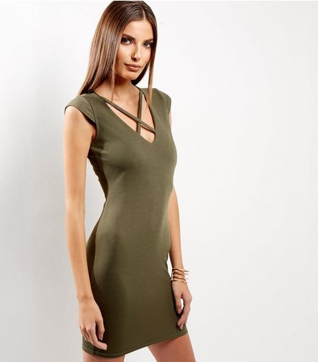 Khaki Cross Strap Front Cap Sleeve Bodycon Dress  | New Look