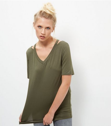 Khaki Cut Out Shoulder V Neck Top | New Look
