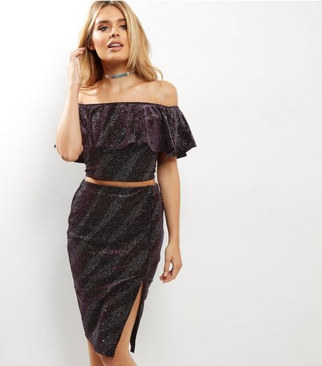 Petite Dark Purple Giltter Velvet Pencil Skirt | New Look