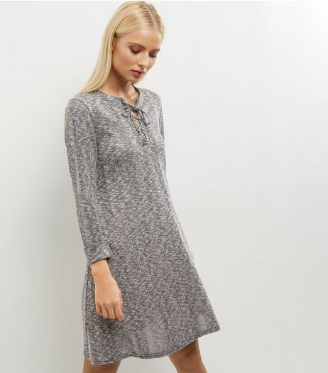 Grey Ribbed Lattice Front Long Sleeve Swing Dress | New Look