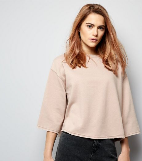 Stone 3/4 Wide Sleeve Cropped Sweater  | New Look