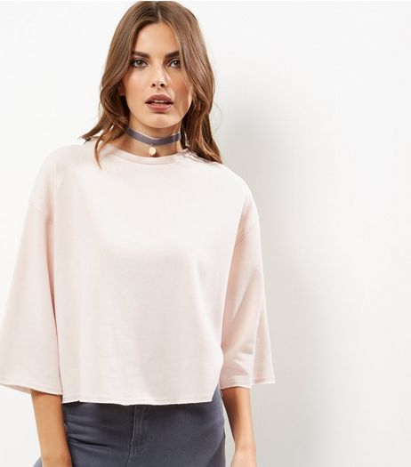 Shell Pink 3/4 Wide Sleeve Cropped Sweater  | New Look
