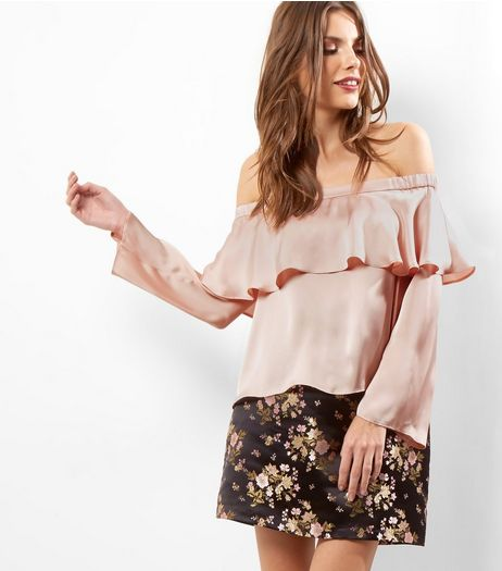 Shell Pink Sateen Layered Bardot Neck Top  | New Look