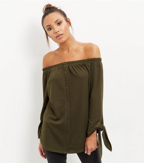 Cameo Rose Khaki Bardot Neck Tie Sleeve Top  | New Look