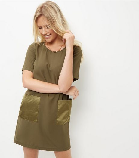 Cameo Rose Khaki Sateen Pocket Tunic Dress | New Look