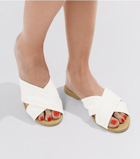 White Leather Cross Strap Mules | New Look