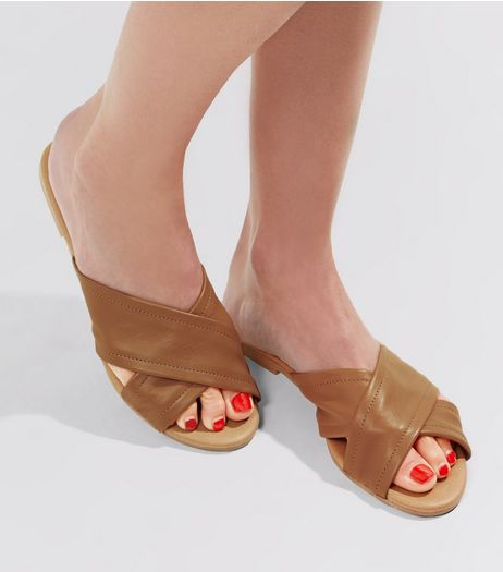 Tan Leather Cross Strap Mules | New Look