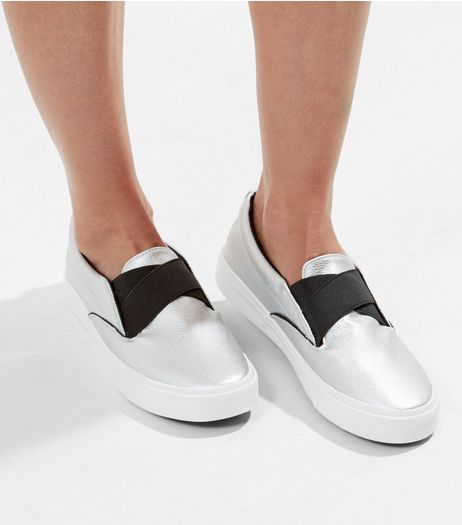 Silver Metallic Elasticated Strap Slip On Plimsolls | New Look