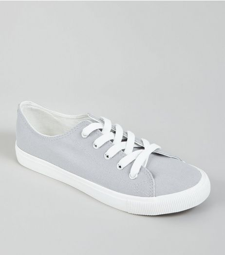 Grey Lace Up Trainers | New Look