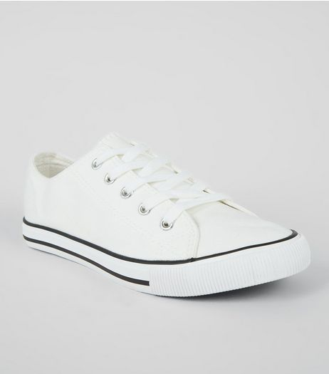 White Contrast Trim Lace Up Trainers | New Look