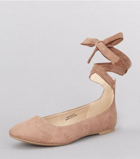 Teens Camel Suedette Tie Up Pumps | New Look